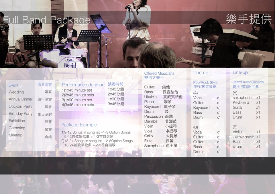 Full Band Package 樂手提供 匤王1 Line-up Line-up Offered Musicians 提供之樂手 Pop/Rock Style 流行/F&滾音樂 Jazz/Blues/Classical 爵士灆調/古典 演奏時間 1x45分鐘 2x45分鐘 1x90分鐘 3x45分鐘 適合宴會 Performance duration Guitar 結他 Bass Ukulele 夏威夷結他 Vocal Piano 鋼琴 Keyboard電子琴 Drum鼓 Percussion敲擊 Djembe 非洲鼓 -1)1x45 minute set 低音結他 Wedding Annual Dinner 週年晚會-3)1x90 minute set Cocktail Party 酒會 4)3x45 minute sets Birthday Party 生日派對 Exhibition Gathering Meeting 婚宴 2)2x45 minute sets saxophone x1 Keyboard x1 x1 x1 Keyboard x1 x1 x1 Guitar Bass Drum x1 X1 x1 Drum 展覽 Package Example 聚會 會議 olin Viola Cello 2)13-24 Songs in song list 2-50ption Songs Flute 小提琴 中提琴 大提琴 長笛 Violin Guitar/Keboard x1 1)9-12 Songs in song list +1-3 Option Songs x1 x1 x1 9-12首歌單歌曲+1-3首自選歌 Guitar Guitar Bass Drum x1Bass x1 x1 13-24首歌單歌曲+ 2-5首自選歌 Saxophone色士風 Drum x1 x1,product,